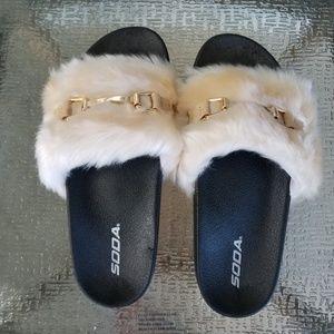 abe1e6de817b NEW Soda Furry Slip On Slide Sandals